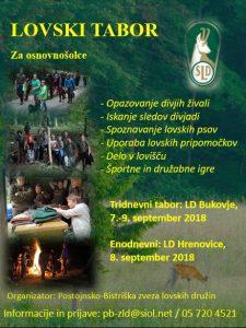 7. – 9. 9. 2018 – Lovski tabor za mlade