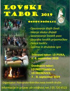 6. – 8. 9. 2019: Lovska tabora za seznanjanje mladih z naravo in lovstvom
