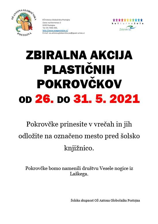 26. – 31. 5. 2021 – Zbiralna akcija plastičnih pokrovčkov
